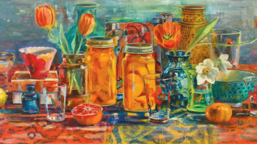 Peaches and Tulips painting