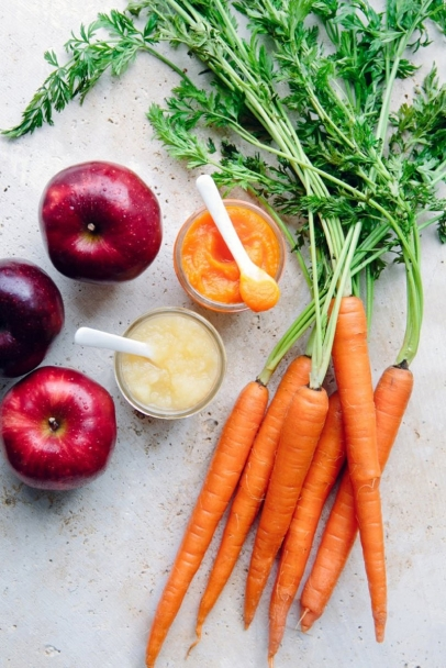 Apples and carrots are cut, steamed and pureed for Stage 1-2 eaters.