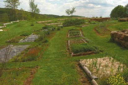 Janell's spring beds at her three-acre herb farm.