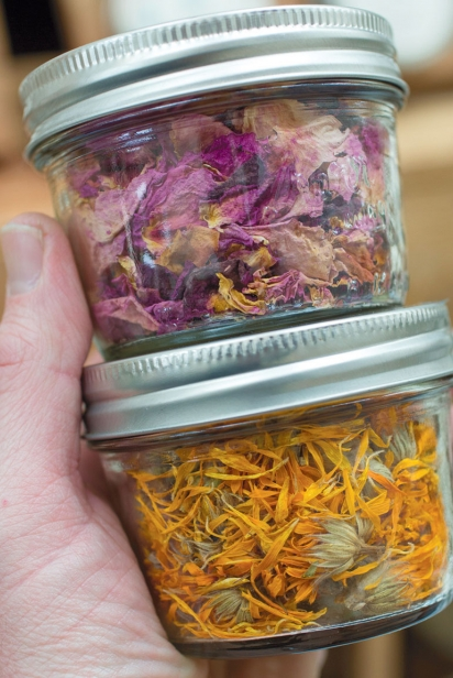 dried rose petals (Rosa rugosa) and dried calendula flowers (Calendula officinalis) as sold at the Worthington farmers market