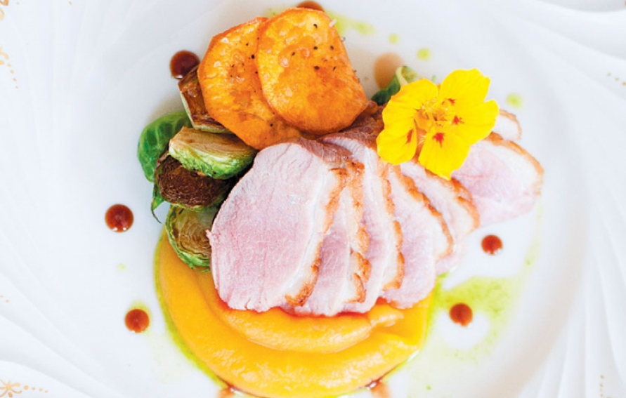 Pan Roasted Duck Breast With Charred Brussels Sprouts Butternut